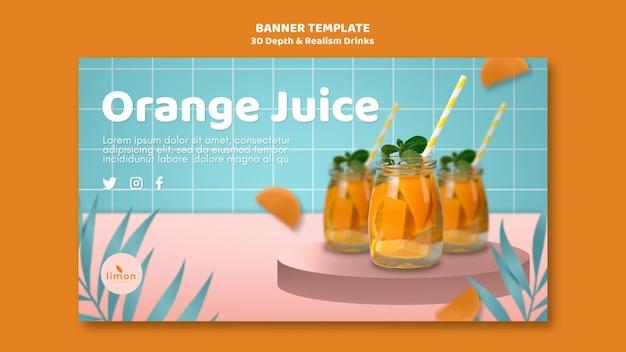 Tema de banner de bebidas de profundidade e realismo 3d
