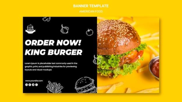 Tema de banner de comida americana