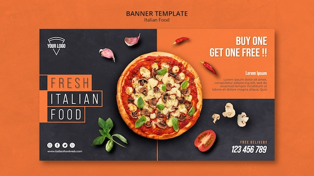 Tema de banner de comida italiana