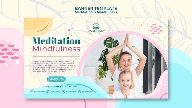 Tema de banner de meditação e atenção plena