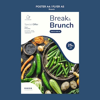 Tema de brunch para design de modelo de cartaz