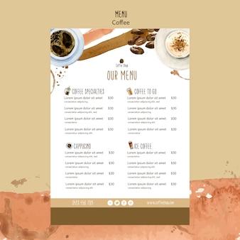 Tema de café para o modelo de menu