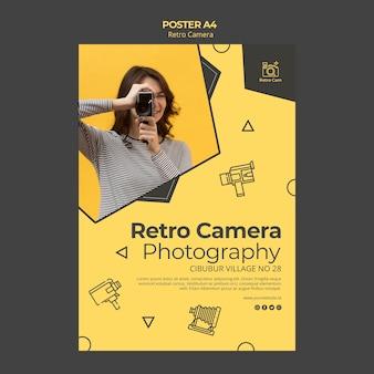 Tema de cartaz de câmera retro