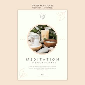 Tema de cartaz de meditação e atenção plena