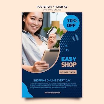 Tema de cartaz on-line de compras