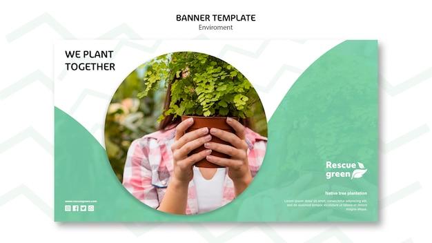 Tema de modelo de banner com ambiente
