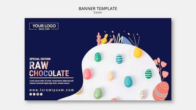 Tema de modelo de banner com chocolate escuro para a páscoa