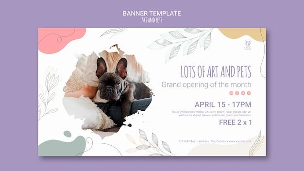 Tema de modelo de banner de arte e animal de estimação