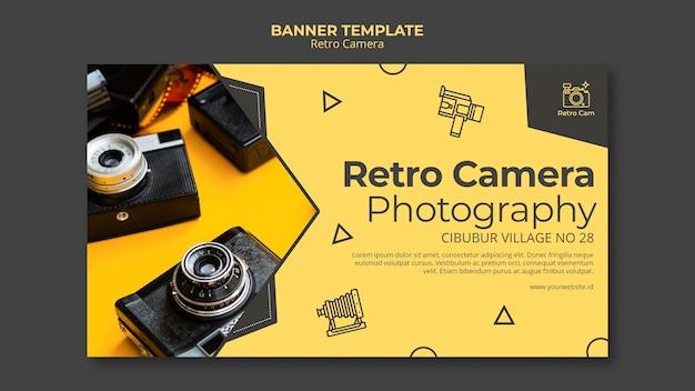 Tema de modelo de banner de câmera retro