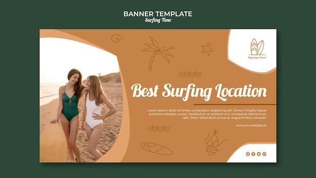 Tema de modelo de banner de surf