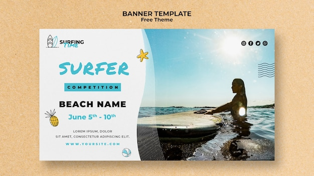 Tema de modelo de banner de surfista