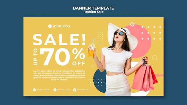 Tema de modelo de banner de venda de moda