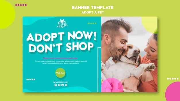 Tema de modelo de banner para adoção de animais de estimação