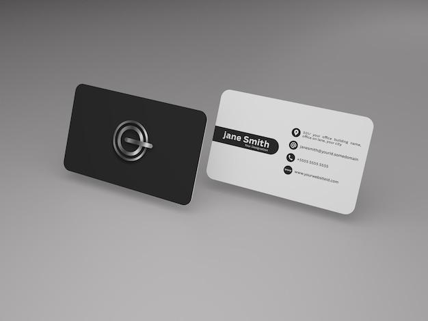 Tema de modelo de cartão de visita escuro e branco