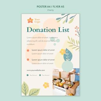 Tema de modelo de cartaz de caridade