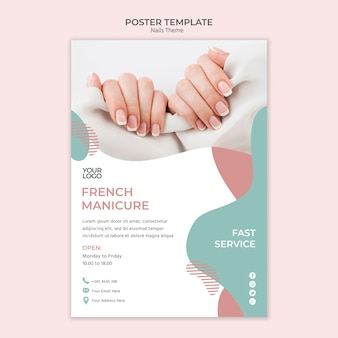 Tema de modelo de cartaz de estúdio de unhas
