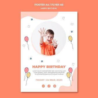 Tema de modelo de cartaz de feliz aniversário