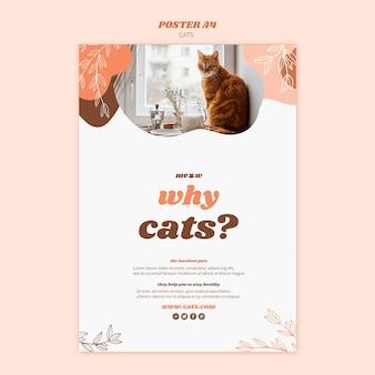 Tema de modelo de cartaz de gatos