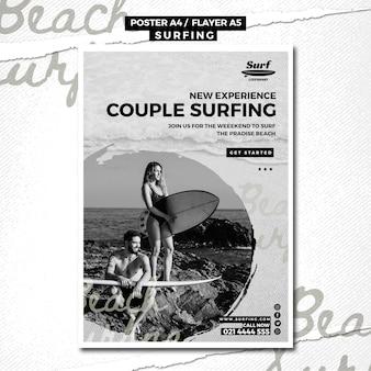 Tema de modelo de cartaz de surf