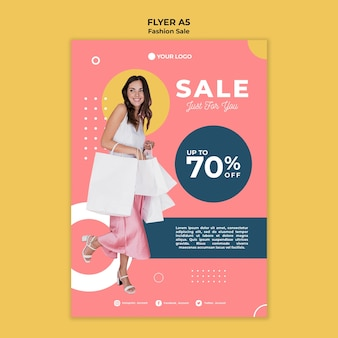 Tema de modelo de folheto de venda de moda