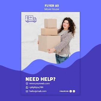 Tema de modelo de folheto - mover casa