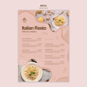 Tema de modelo de menu de comida italiana