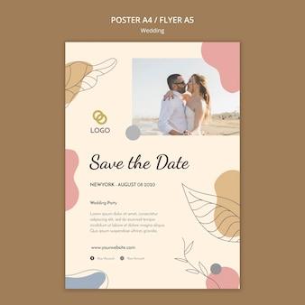 Tema de modelo de panfleto de casamento