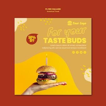 Tema de modelo de panfleto de comida americana