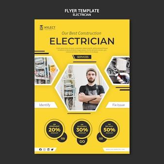 Tema de modelo de panfleto de eletricista