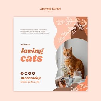 Tema de modelo de panfleto de gatos
