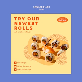 Tema de modelo de panfleto de sushi