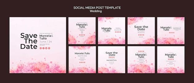 Tema de modelo de postagem de mídia social de casamento