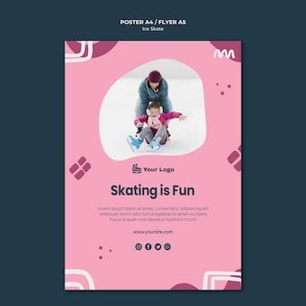 Tema de modelo de pôster de skate no gelo Psd grátis