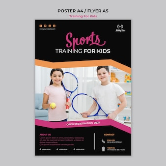 Tema de modelo de pôster de treinamento para crianças