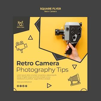 Tema de panfleto de câmera retro
