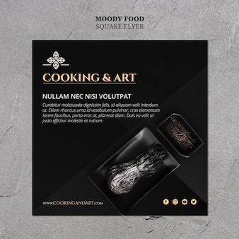 Tema de panfleto de culinária e arte