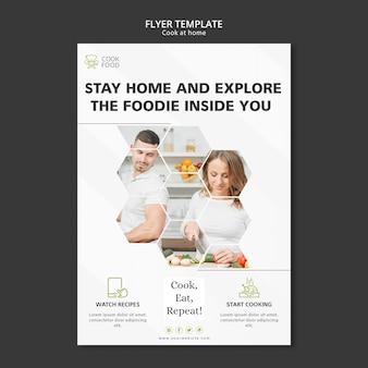Tema de panfleto de culinária em casa