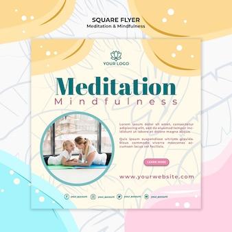Tema de panfleto de meditação e atenção plena