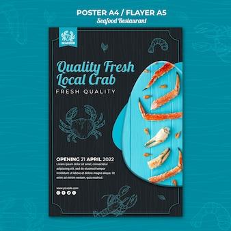 Tema de panfleto de restaurante de frutos do mar