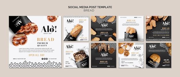 Tema de pão para publicação em mídia social