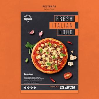 Tema de pôster de comida italiana