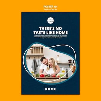 Tema de pôster para cozinhar em casa