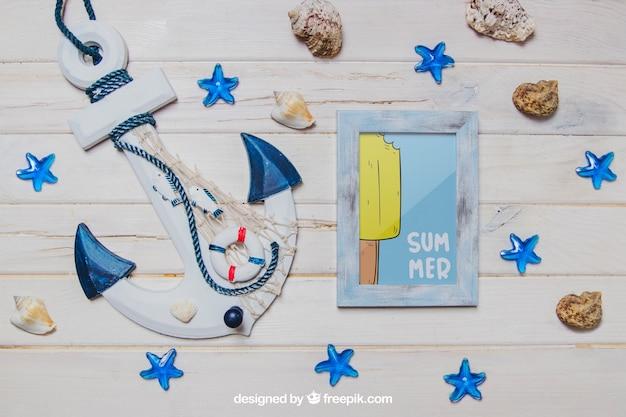 Tema de verão com âncora e quadro