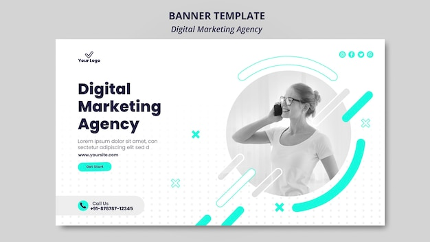 Tema do banner da agência de marketing digital