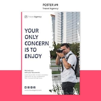 Tema do cartaz da agência de viagens