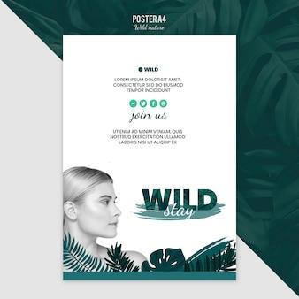 Tema do modelo de cartaz com natureza selvagem