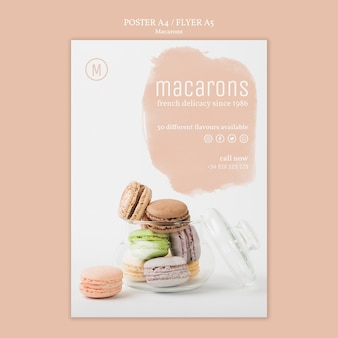 Tema do modelo de cartaz de macarons