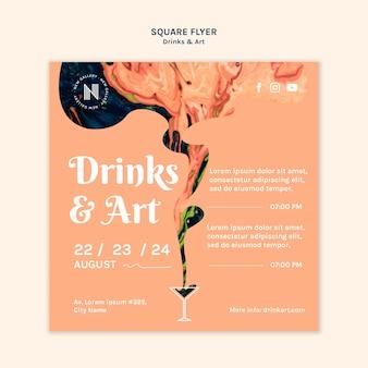 Tema do modelo de folheto de bebidas e arte