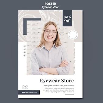 Tema do modelo de pôster da loja de óculos