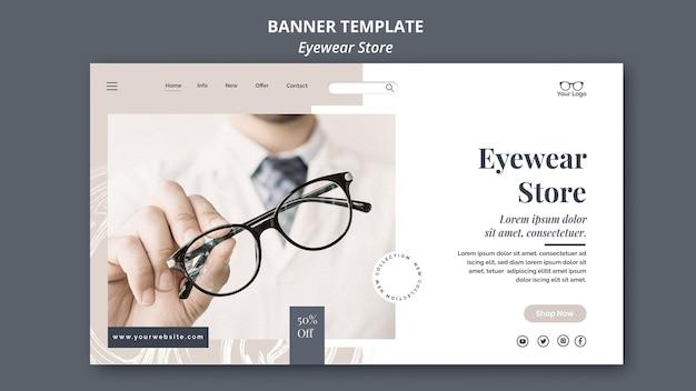 Tema do modelo do banner da loja de óculos